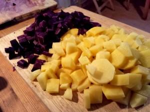 Urmöhre und Kartoffeln