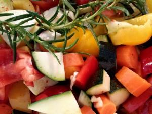 Gemüse, einfach grob geschnitten