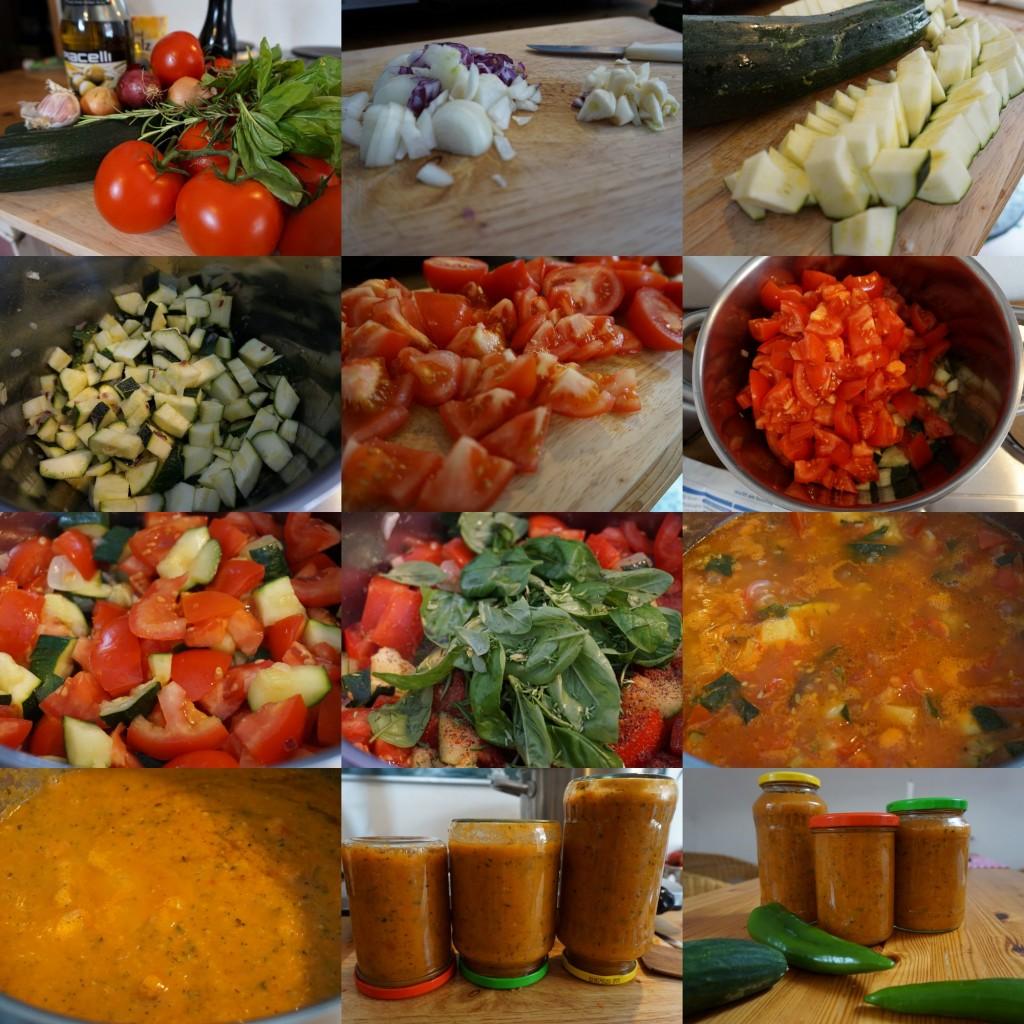 Making of in Bildern; Zucchini-Tomaten-Soße mit Kräutern auf Vorrat eingekocht